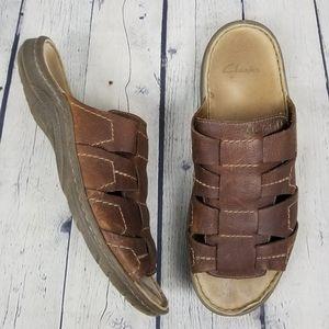 CLARKS | slip-on leather slides sandals